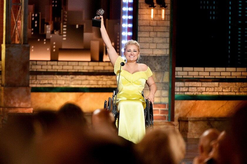 Ali Stroker accepts her Tony Award for featured actress in a musical.