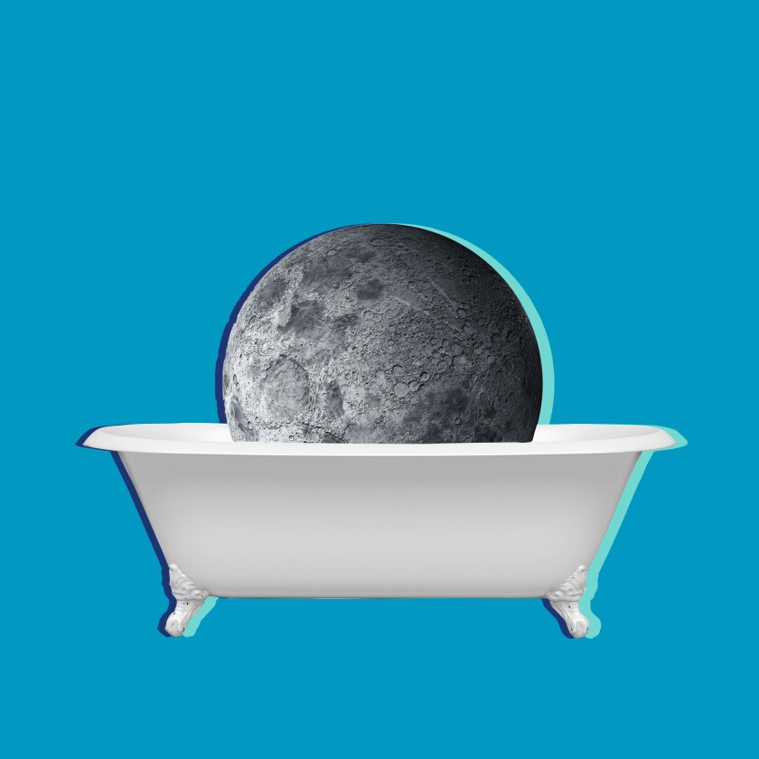 Illustration of the moon sitting in a bathtub