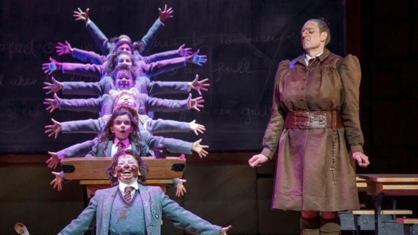 """Dan Chameroy (right) as Miss Trunchbull with cast members of """"Matilda the Musical."""""""