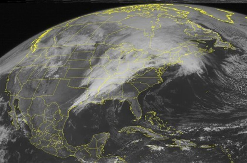 This NOAA satellite image taken Monday, April 04, 2011 at 01:45 PM EDT shows clouds cover most of the Eastern half of the nation. A low pressure system moving through the Great Lakes produces a cold front that stretches down the Ohio and Mississippi River Valleys, and reach into the Gulf of Mexico. This system kicks up severe thunderstorms with periods of heavy rain, strong winds, hail, and even tornadoes. High pressure builds in behind this system, which helps to dry out the Plains. (AP PHOTO/WEATHER UNDERGROUND)