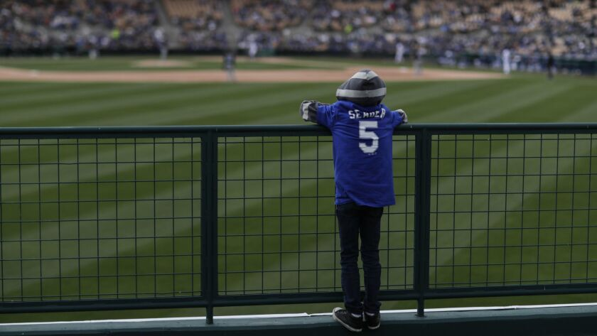 Jayden Jones, 11, from Avondale, Ariz., watches the Dodgers and the Chicago White Sox from the center-field picnic area at Camelback Ranch.