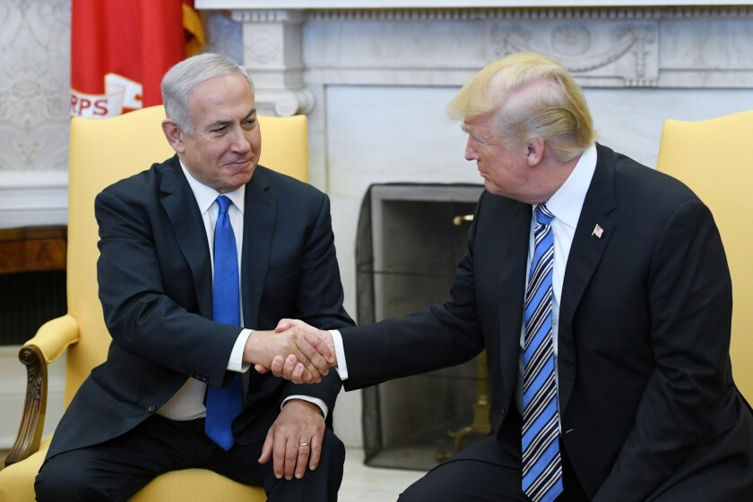 President Donald Trump meets with Israel Prime Minister Benjamin Netanyahu in the Oval Office of the White House on March 5, 2018.