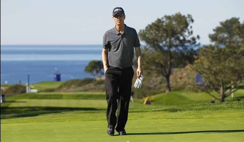 San Diegan Chris Riley played a practice round on the South Course at Torrey Pines on Tuesday in preparation for this week's Farmers Insurance Open.