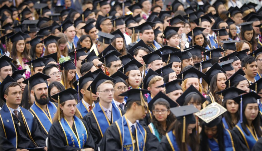 UC San Diego students graduating during an all campus commencement ceremony in 2019.