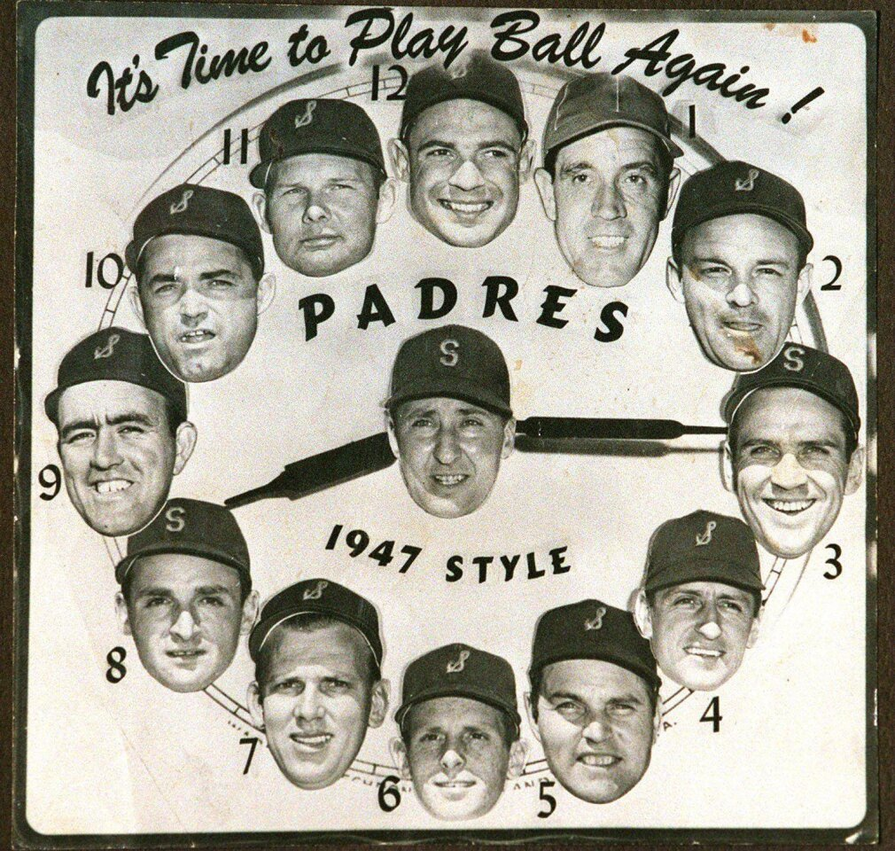 A 1940s-era clock with the San Diego Padres Pacific Coast League players.