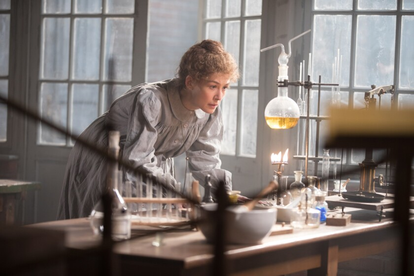 """Rosamund Pike as Marie Curie in the movie """"Radioactive."""""""