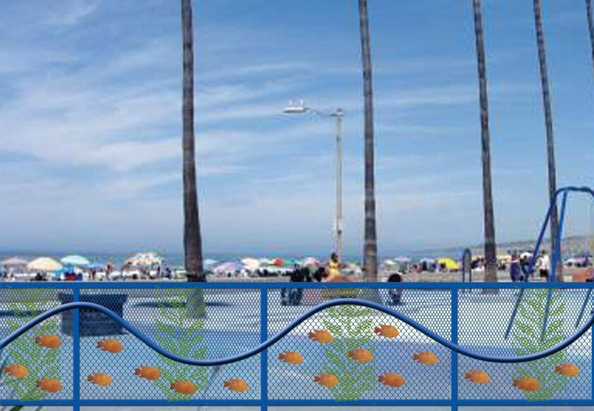 An artist's rendering of the proposed fence around The Map at La Jolla Shores