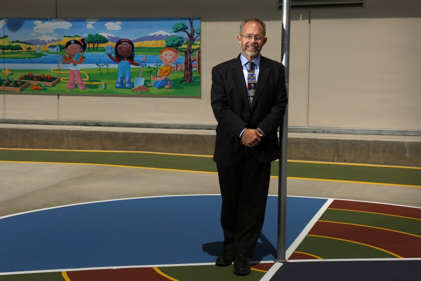 Long Beach Unified School District Supt. Christopher Steinhauser at the newly rebuilt Theodore Roosevelt Elementary School in Long Beach. ( Rick Loomis / Los Angeles Times )