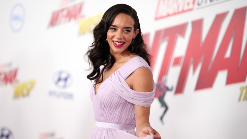 "Hannah John-Kamen attends the premiere of Disney and Marvel's ""Ant-Man and the Wasp"" on Monday night."