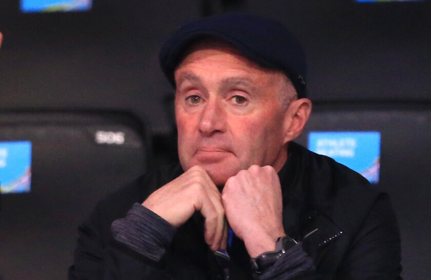 Alberto Salazar watches an event during the 2018 IAAF World Indoor Championships in Birmingham, England.