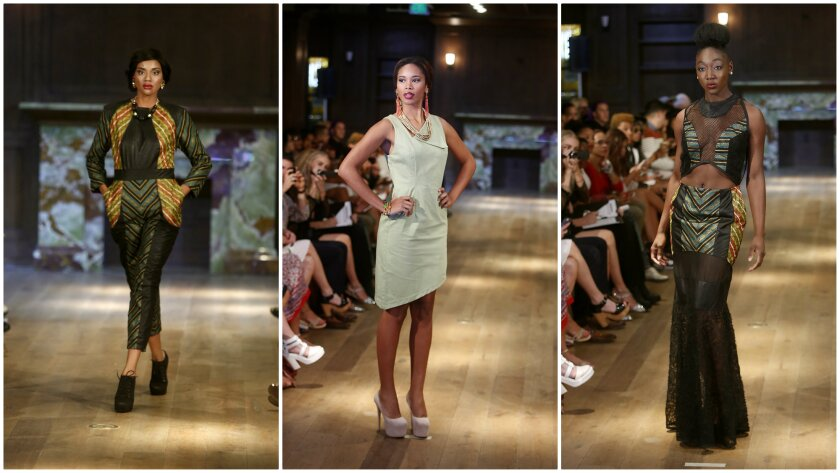 Looks from Open Runway winner Sania Josiah's spring 2015 collection presented Wednesday at Los Angeles Fashion Week.