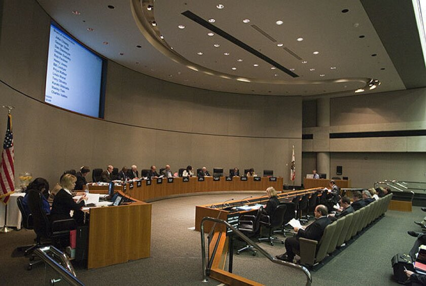 The CalPERS board meets at headquarters in Sacramento.