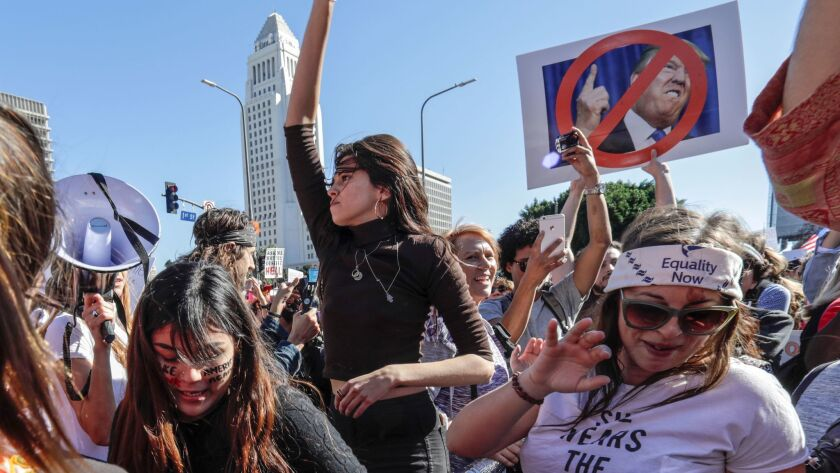 Thousands marchers gather near City Hall in downtown Los Angeles for then second annual Women's March on Jan. 20.