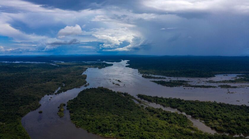 An aerial view of the Iriri River in the Arara indigenous territory in the Amazon Rainforest in Para State, Brazil on March 15.