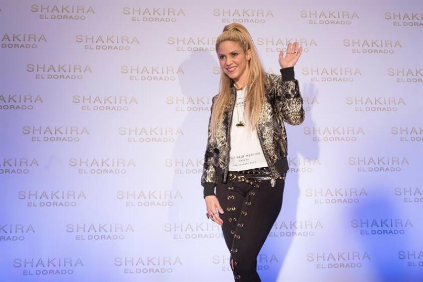 """La cantante colombiana Shakira a su llegada a la presentación de su último trabajo, """"El Dorado"""". EFE/Archivo"""