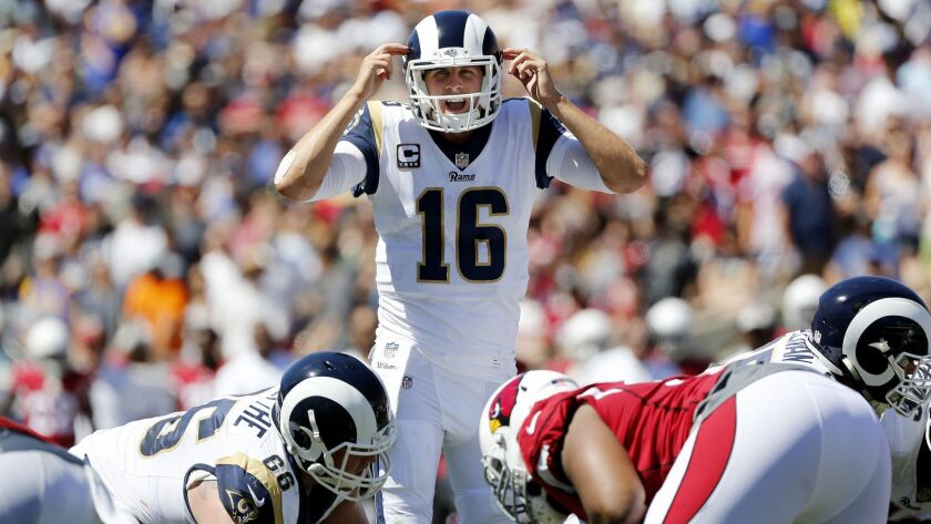 LOS ANGELES, CALIF. -- SUNDAY, SEPTEMBER 16, 2018: Los Angeles Rams quarterback Jared Goff (16) in a