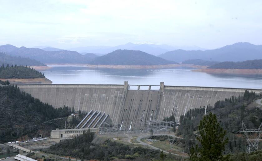 The 602-foot, concrete Shasta Dam near Shasta, Calif.