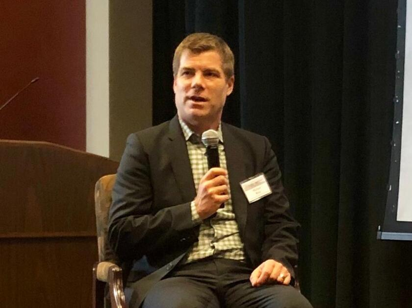 """Stanford's Michael Wara at the """"Future of Energy in a Changing Climate"""" symposium at the University of San Diego on Nov. 8, 2019."""