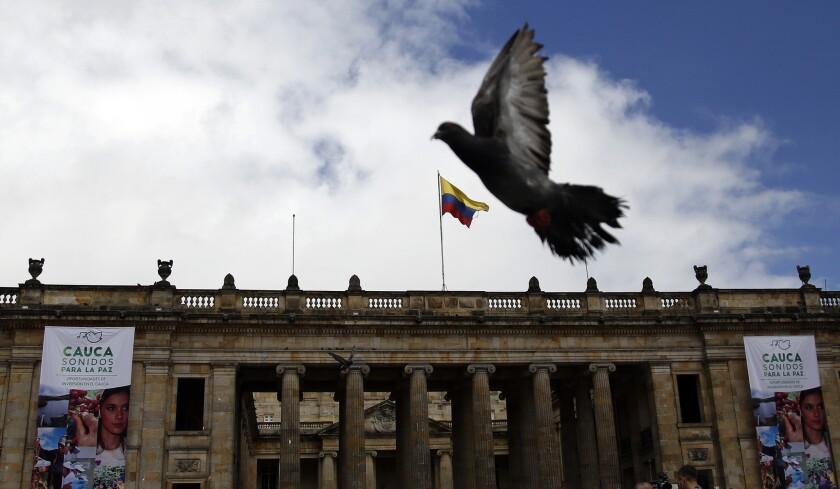 Una paloma vuela sobre la Plaza Bolivar en Bogotá, Colombia, el jueves 23 de junio de 2016. El presidente colombiano Juan Manuel Santos, y el jefe de la agrupación rebelde FARC acordaron el jueves un cese del fuego y el desarme rebelde que acerca al país a poner fin a 52 años de guerra, en la que han muerto más de 220.000 personas. (AP Foto/Fernando Vergara)
