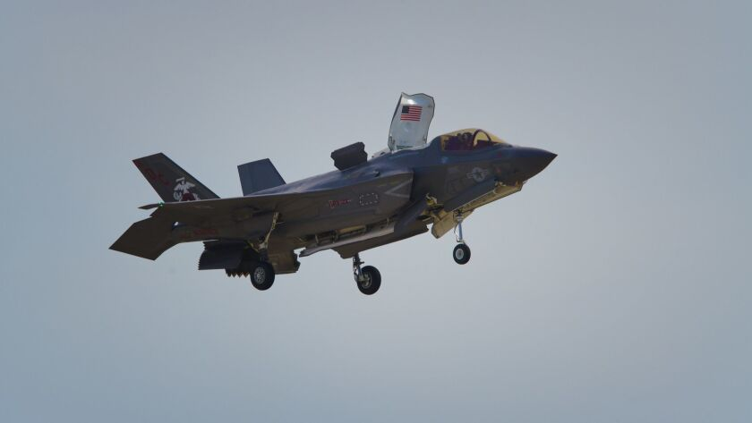 An F-35 Joint Strike Fighter performs at the 2018 Miramar Air Show. The next generation fighters are set to arrive at Miramar in early 2020, but some of the infrastructure for the planes is yet to be built.