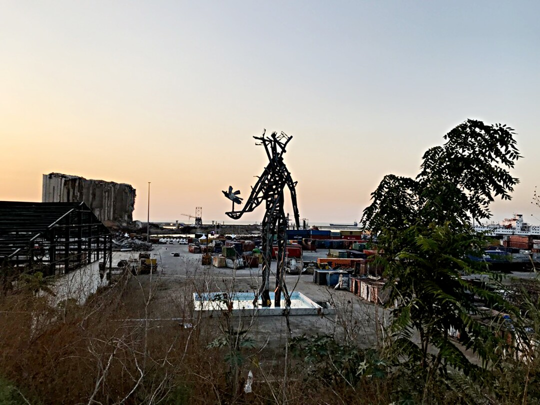 A statue made from the wreckage of Beirut port
