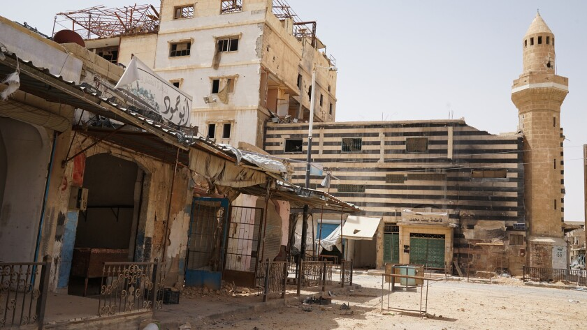The center of the abandoned town of Palmyrawas, which was once a vibrant town of 70,000. Some of th