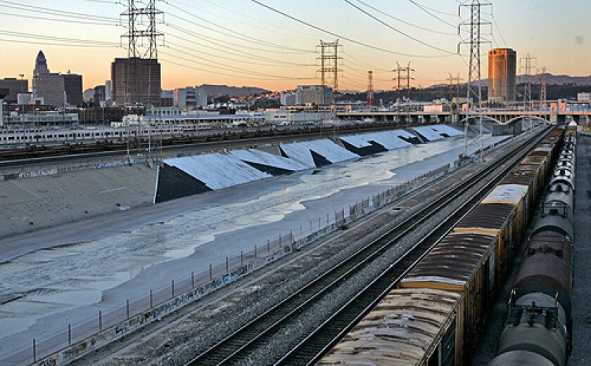 "L.A.'s largest tag: the giant, half-mile-long ""MTA"" scrawl that appeared last year along the concrete banks of the Los Angeles River near downtown."
