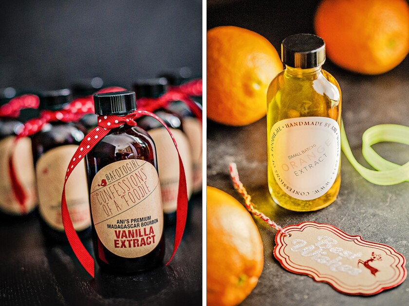 Bottles of vanilla and orange extracts for baking ready for gift-giving.
