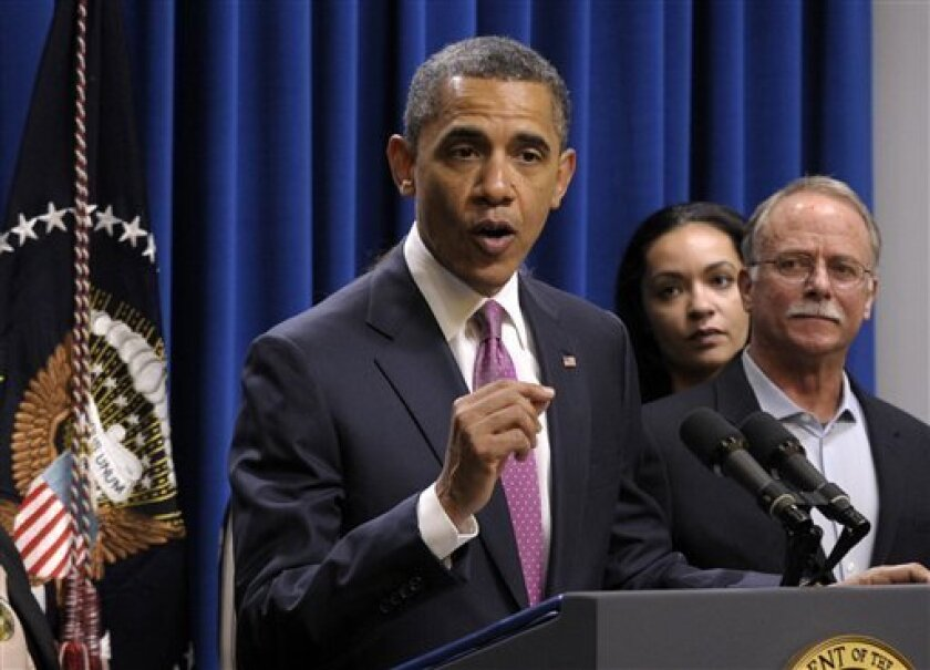 President Barack Obama speaks about the Buffett Rule, Wednesday, April 11, 2012, in the Eisenhower Executive Office Building on the White House complex in Washington. (AP Photo/Susan Walsh)