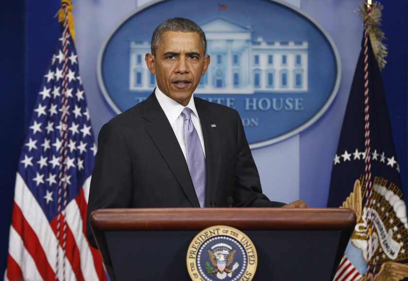 President Obama, speaking in the White House briefing room, expressed concern about reports of Russian military activity within Ukraine.