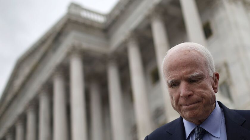 U.S. Sen John McCain Diagnosed With Brain Cancer Senate Lawmakers Attend Briefing On North Korea At The White House