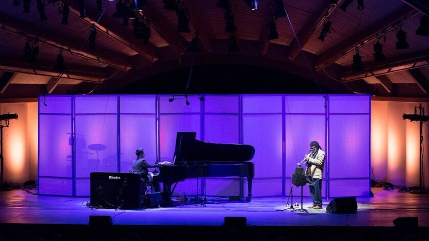 Vijay Iyer (left0 and Wadada Leo Smith brought Thursday's opening Ojai Music Fesival concert to a mo