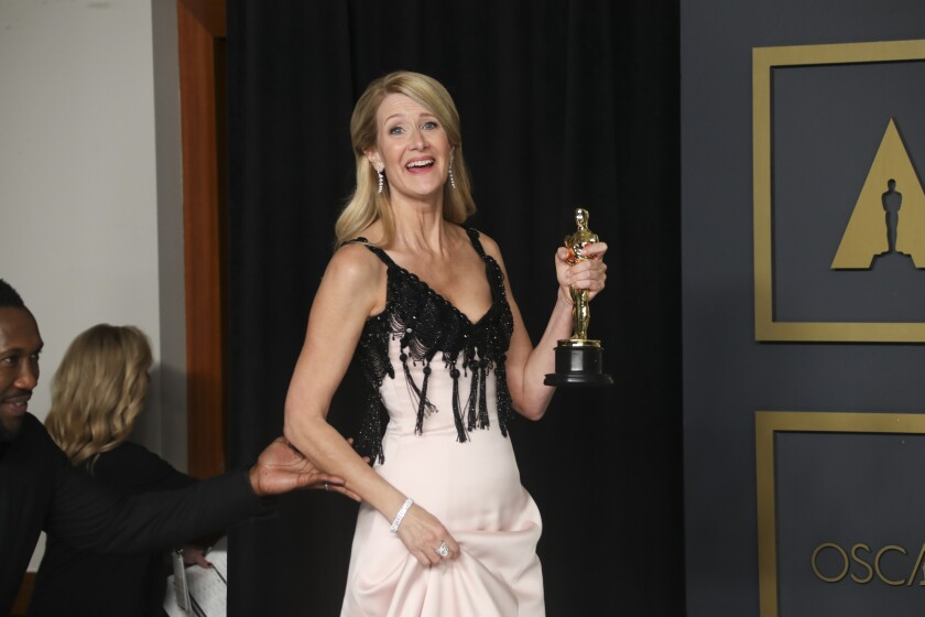 "Laura Dern, supporting actress winner for ""Marriage Story,"" in the Photo Room at the Academy Awards."