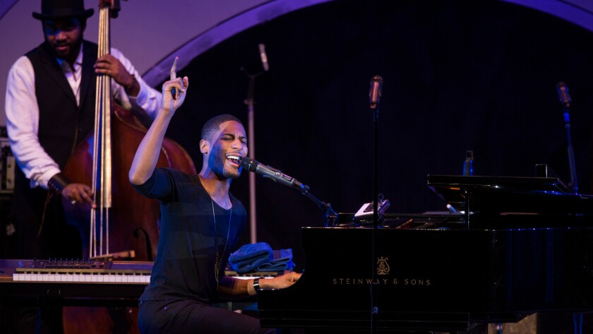 Jon Batiste & Stay Human perform at the 38th Annual Playboy Jazz Festival on Saturday at the Hollywood Bowl.