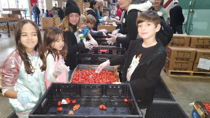 Torrey Pines Elementary School students sort food for Feeding San Diego as part of Kindness Week.