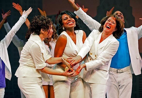 """Barbara Walsh, left, as Brenda, Sheryl Lee Ralph as Elyse and Karen Ziemba as Annie perform in the final number of the new musical """"The First Wives Club"""" during a dress rehearsal at the Old Globe Theatre in San Diego. The musical runs from July 17 through Aug 23."""