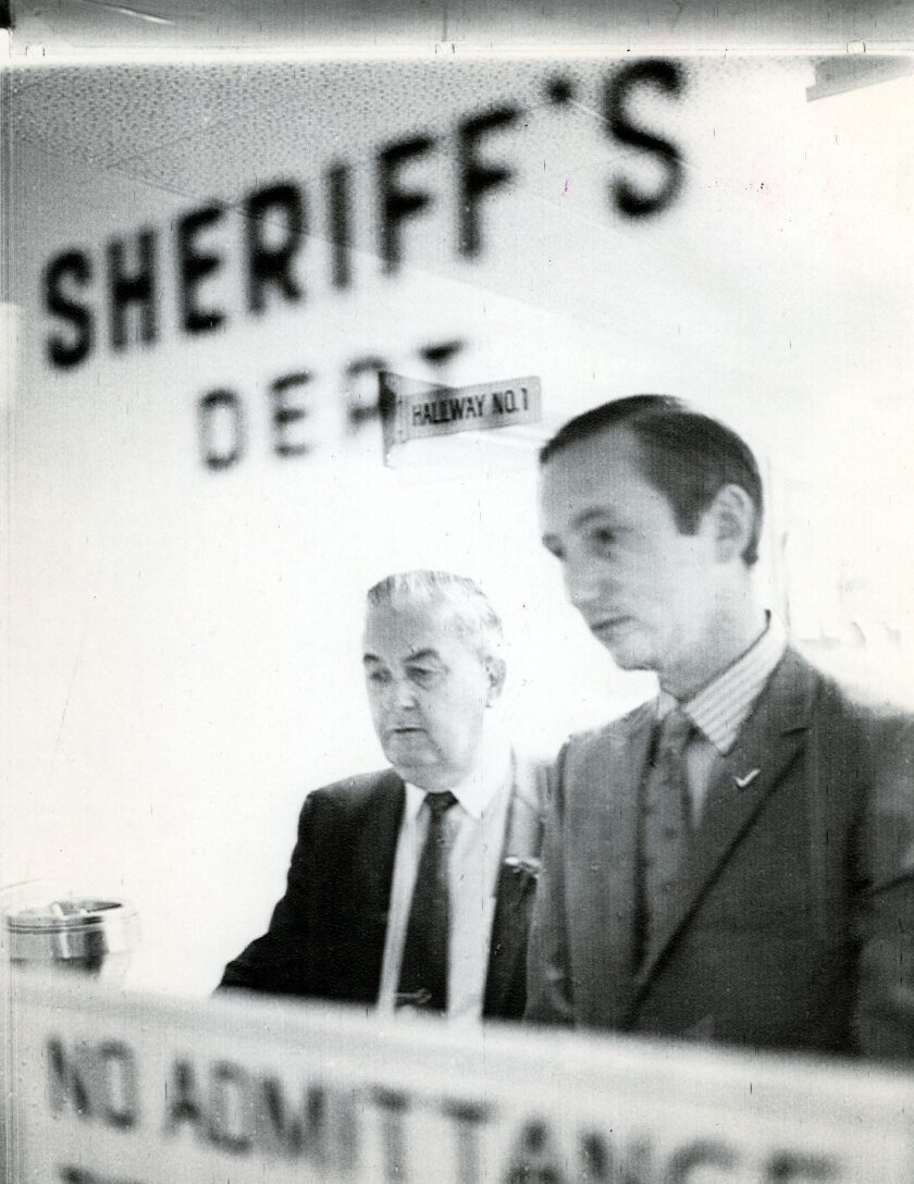 San Diego Mayor Frank Curran (left)  with then-San Diego City Councilman Mike Schaefer in October, 1970.  Photo by Joe Holly