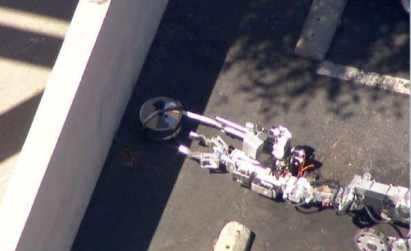 An LAPD bomb squad responds to a suspicious item at the Ralph's parking lot in Silver Lake.
