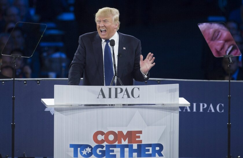 Republican presidential candidate Donald Trump delivers remarks at the American Israel Political Action Committee (AIPAC) Policy Conference in Washington, D.C. on Monday.