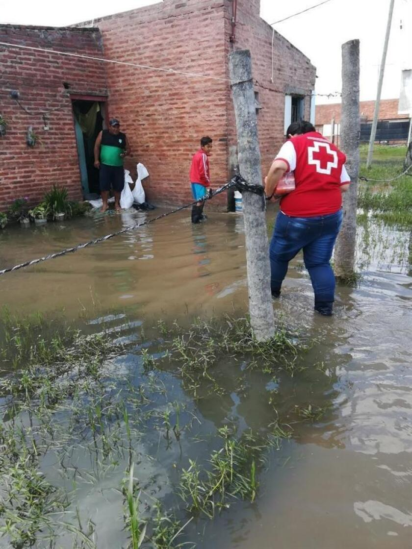 The Argentine red cross in Argentina visiting houses that were damaged by the floods in Chaco, to the north of Argentina on Jan. 16, 2019. EPA- EFE/Cruz Roja Argentina