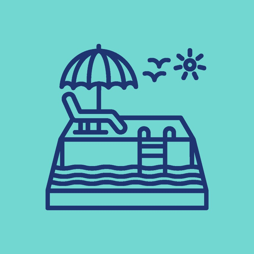 Pictogram of a sunny pool setting.