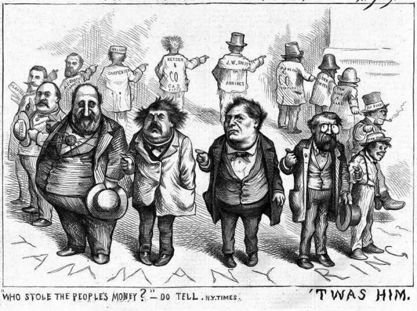"""Who Stole the People's Money?"" Thomas Nast's 1871 attack on Boss Tweed, used by the New York Review of Books to illustrate Jed Rakoff's essay."