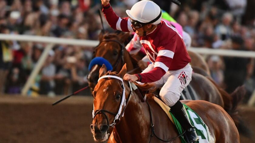 Jockey Florent Geroux celebrates after riding Gun Runner to a win in the Breeders' Cup Classic last year.