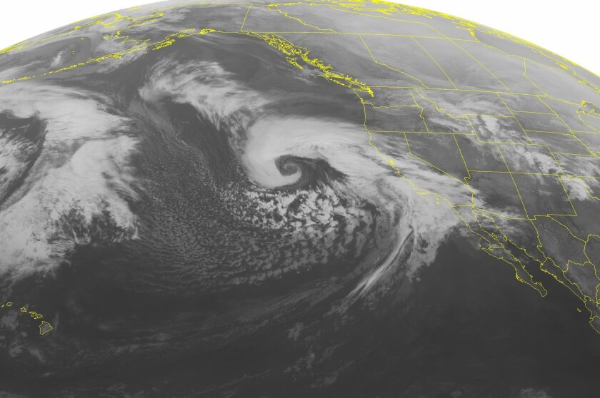 This NOAA satellite image taken at 2:00 a.m. EST on Friday shows a powerful storm over the Pacific Ocean, giving some much needed rain to Southern California and other parts of the west. Scientists say they have indicators of a return of El Niño, nature's most powerful influence on weather.