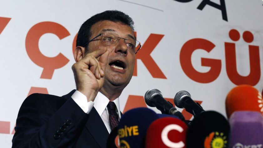 Ekrem Imamoglu candidate of the secular opposition Republican People's Party makes statements at CHP