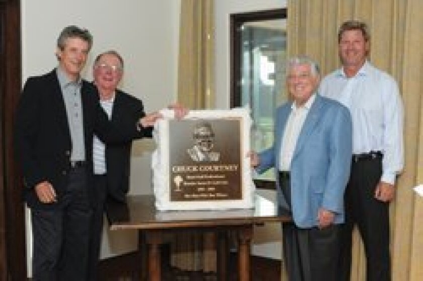 RSFCG Chuck Courtney Honorary Scholarship Fund Chairman Dr. Jeff Javelet, honoree Chuck Courtney, scholarship founder and trustee Bob Baker, club pro Scott Johnson with plaque to be installed at the Golf Club