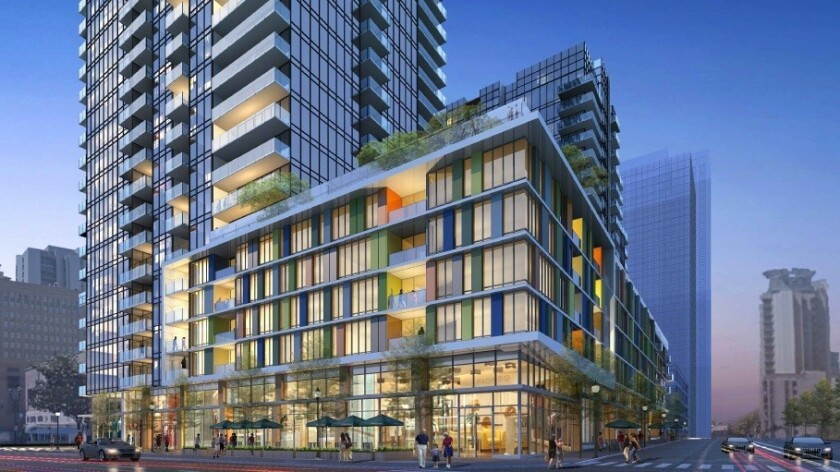 The Broadway Block has been redesigned for apartments but it may switch to condos depending on market conditions.