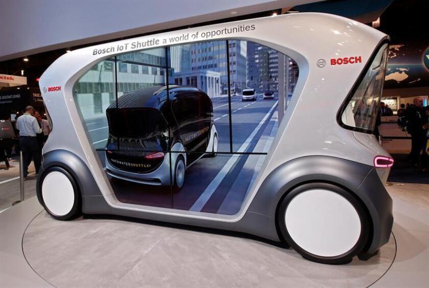 Un autotransportador de Bosch en exhibición fue registrado este martes, durante la apertura de la Feria de Electrónica de Consumo CES 2019, en Las Vegas (EE.UU.). EFE