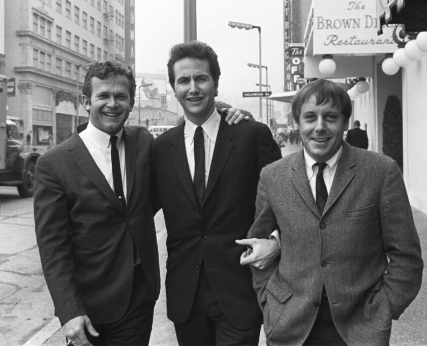 Kingston Trio members Bob Shane, left, John Stewart and Nick Reynolds in Hollywood in 1967.