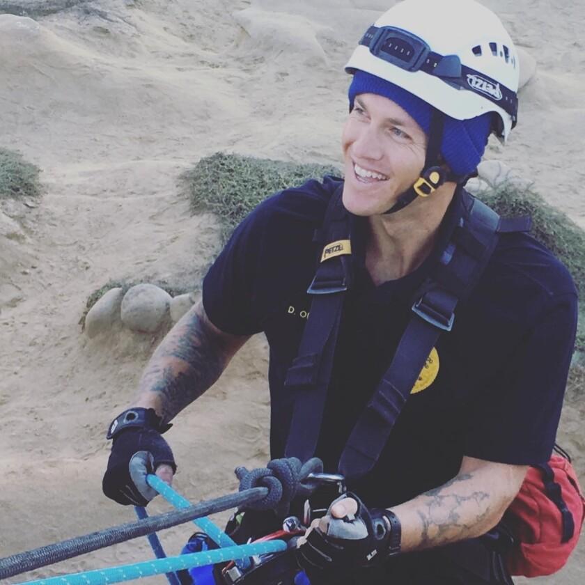 Daniel Orloff participates in a practice cliff rescue.
